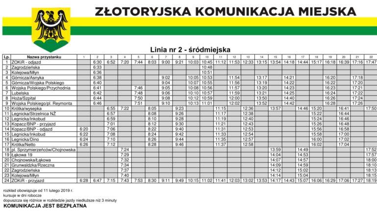 Nowy rozkład jazdy Złotoryjskiej Komunikacji Miejskiej (aktualizacja)
